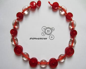 Chain, button chain, necklace with beads and buttons, buttons, statement chain, necklace, chain, red