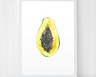 Fruit Print, Fruits Art, Papaya Watercolor, Watercolor Fruit, Papaya Art, Fruit Watercolor, Printable Art, Food Poster, Tropical Fruits
