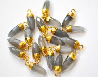 Gray Moonstone Bullet Spike Point Pendant Capped in Gold 16x5mm, Moonstone Bullet Point