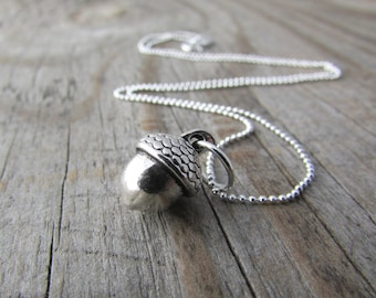 Acorn Necklace, small silver acorn pendant