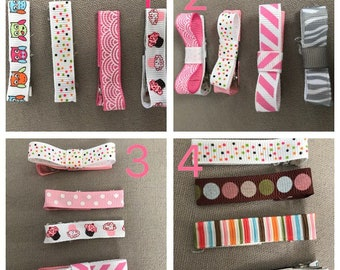 Ribbon hair clips (set of 4)
