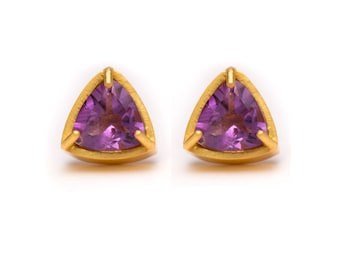 Trillion Cut Studs - Gold Stud Earrings - Amethyst Studs - Gemstone Stud Earrings - Prong Set Studs with Bezel Rim