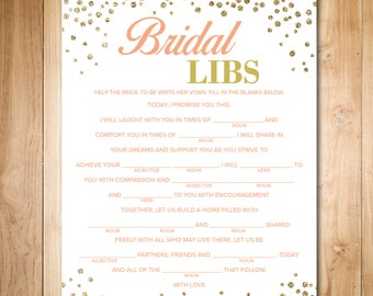 Gold Bridal Shower Games - Wedding Vow Mad Libs - Bridal Shower Mad Libs - Help Bride Write Her Vows - Bridal Shower Mad Lib - Printable Art