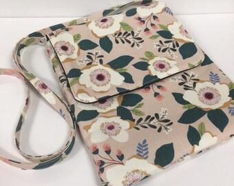 Modern Floral Cross body Bag Rose Pink Floral Handbag Purse Monogrammed Crossbody Bag Christmas Gift for Her Modern Floral Crossbody