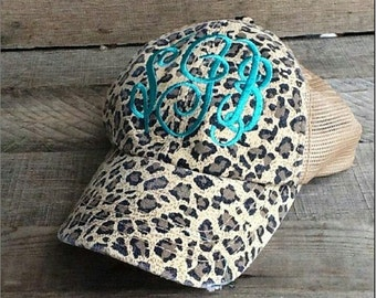 Monogrammed leopard hat - Perfect PREPPY accessory!