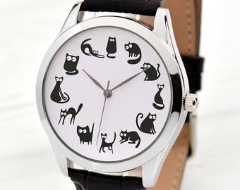 Cat Lover Gift | Black Cats Watch | Unique Women's Watches | Funny Gifts for Cat Lover | Crazy Cat Lady Gift | Cat Jewelry | FREE SHIPPING