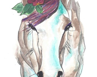 Woodland Horse Nursery Art, Baby Decor, Watercolor Horse Flower, Tribal Print, Woodland Home Decor,Nursery Wall Art, Girls Print, Sketch