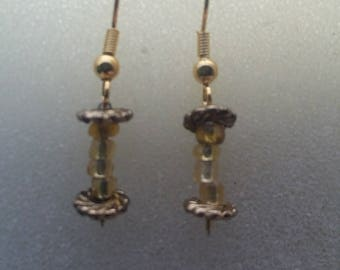 Handmade yellow and gold beaded earrings