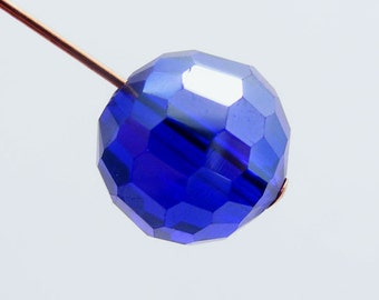 Crystal Beads 10mm Faceted Round Disco Balls Royal Blue AB (Qty 6) PH-DB10-RB