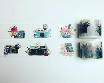 Camera and flower washi tape