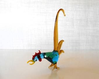 Blue & Amber Glass, Tall Tailed Rooster with Attitude, Hand Blown / 1960s Made In Japan / Fighting Rooster / Art Glass Bird / Rooster Figure