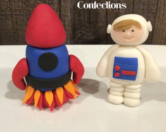 Astronaut and Spaceship Rocket Fondant Cake Toppers Perfect for a NASA birthday party Outerspace Rocketship Cosmonaut