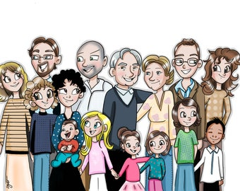 Personalized family portrait, digital print, family gift, poster, customized portrait, art and Collectibles
