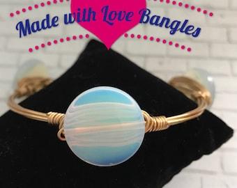 Wire Wrapped Three Stone Bangle Bracelet Oplalite Gemstone Bangle Bracelet *Bourbon and Boweties Inspired*
