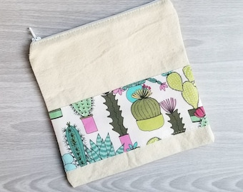 Succulent Obsession Print -- Snack / Sandwich / Quart / Gallon Size Reusable Bag -- Natural Canvas -- Made to Order