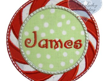 Peppermint Candy Personalized Applique Embroidered Patch, Iron or sew on