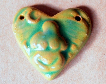 Earth Goddess in a  Heart Pendant Bead - Perfect for Valentine's DayEarthy Green - Blessingway bead