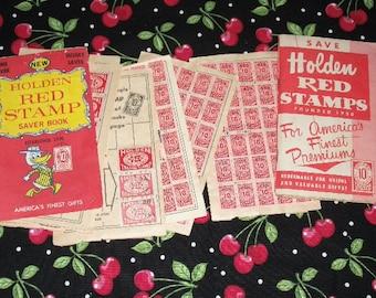 Vintage Holden Red Stamps, almost 2 Full Books, Altered Art, Collage, Repurposing, Ephemera