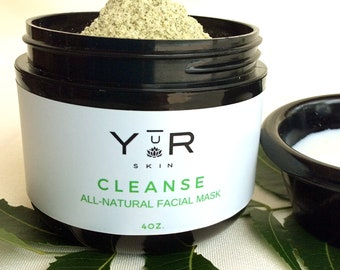 Yur All-Natural Cleanse Facial Mask 4 oz, natural remedies, neem, facial, spa gifts, holistic, beauty products, acne cleaner, antobacterial
