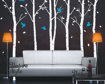 FREE SHIPPING - Birch Tree Wall decal nature forest baby Nursery decal Birch Trees Wall Vinyl sticker Kids - 6 Birch Tree with Flying Birds