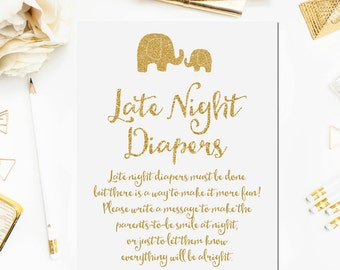 Elephant Late Night Diapers Game Sign, Printable Baby Shower Game, Gold Glitter Baby Shower Sign, Elephant Baby Shower Printable Instant BB5
