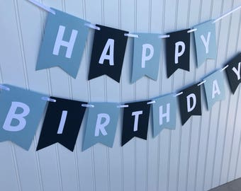 Light blue and navy happy birthday banner