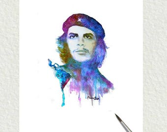 Che Guevara  portrait  in watercolor,  printable wall art,painting Home decor, digital download,vintage.
