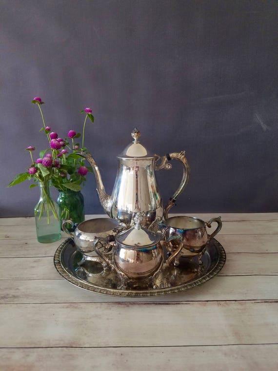 Vintage Tea Set/ Tea Service/ Leonard Silver Plate Tea Set/