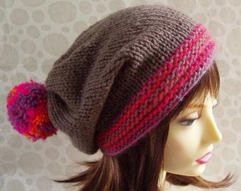 Pompom Hat Pattern Slouchy Beanie Womens Boho Knit Hat Digital Download KNITTING PATTERNS 21st Birthday Best Friend Gift for Sister MARTA