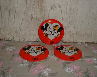 3 Old Walt Disney Productions Mickey & Minnie Mouse LUV Buttons Old Store Stock