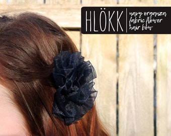 Hlökk | navy blue organza flower hair clip