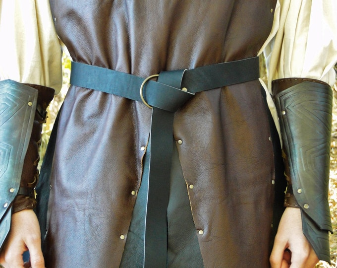 "Medieval Leather Ring Belts, 60"" Long -  Black or Brown Leather - Nickel or Brass Hardware"