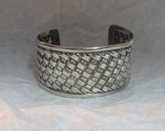 A-Tisket, A-Tasket, A Gleaming Sterling BASKET-WEAVE CUFF for All Seasons!