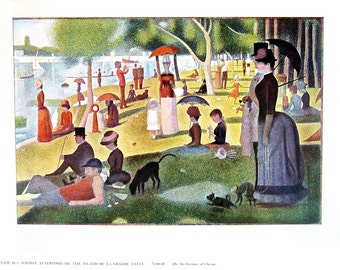Sunday Afternoon on the Island of La Grande Jatte by Seurat - Fine Art Print - Masterpiece Painting - Reproduction Print - 12 x 10