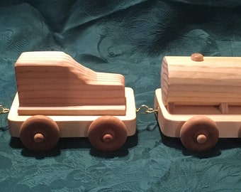 Handcrafted Wooden Train Set with Oil Tanker