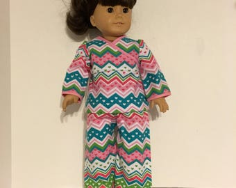 "2 piece flannel pajamas with pink, green and teal chevron stripes that fits 18"" dolls, like American Girl."