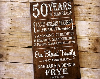 50th Wedding Anniversary Gift, 50 Year Anniversary, Gifts for Parents, Milestone Anniversary, Custom Wood Sign, Golden Anniversary
