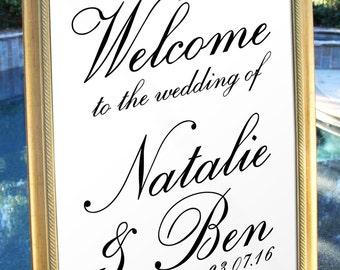 Traditional Script Welcome Wedding Sign Customized Wedding poster wedding decor print art DIY wedding welcome Wedding decoration WS010