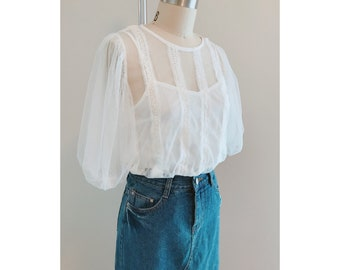 Laced Sheer Blouse/Crochet Blouse/White Sheer Blouse/White Lace Blouse/Puffed Sleeve Top/White Pinhole Blouse/Embroidery Vintage Blou
