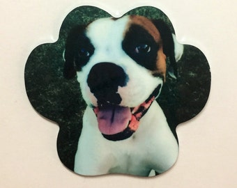Personalized Paw Print Shape Magnet, Personalized Pet Magnet, Pet Gift Ideas
