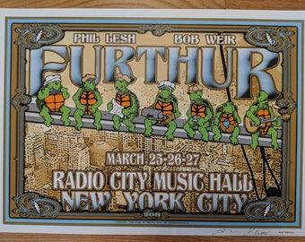 Official Furthur Radio City Music Hall NYC poster March 25-27 2011 by Jeff Miller and Lauri Keener