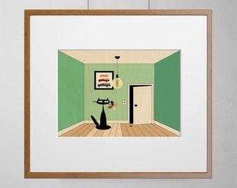Cat and Flower Art Print | Wood Wall Art | Birch Wood |  A3 | Free Shipping Worldwide