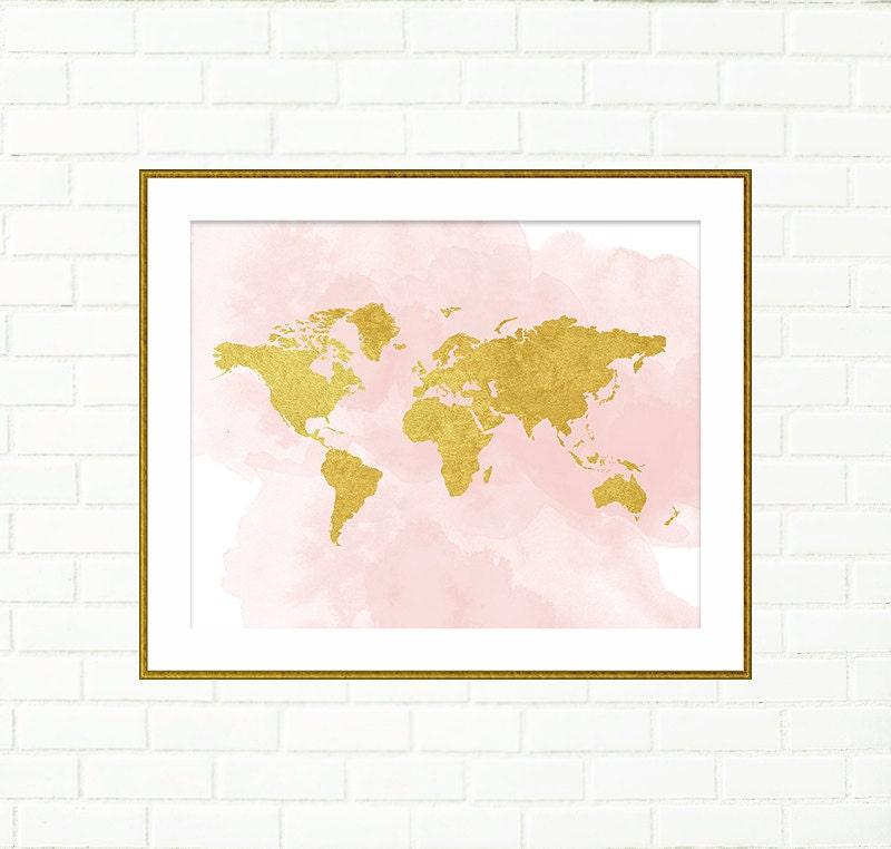 Printable Nursery Art Baby Girl Nursery Prints Gold World