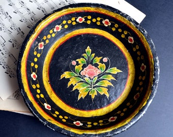 Antique French Hand Made Folk Art Primitive Bowl Black Floral Painted Paper Mache