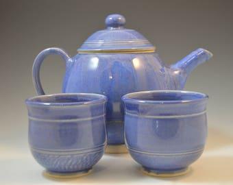 Teapot set, Handmade teapot set, Tea pot set, blue teapot set, tea pot and two tea cups