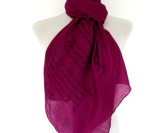 Prince scarf. Purple scarf with 'Purple Rain' print. Music lyrics scarf. Poetry scarf.