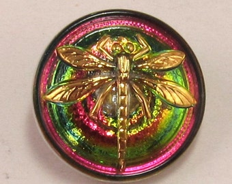 Czech Glass Dragonfly Button, Green Pink Gold, 18mm, With Pendant Converter C179