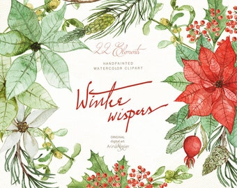 Winter Wispers Watercolor Clipart - Christmas Flowers Clipart, Floral Garland, Wedding Invitation, DIY Invites, Clip Art, Prints