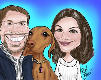 Custom Caricature - caricature from photos hand drawn! Cartoon faces. Portraits.