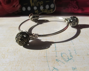 Silver and Copper Wire Wrapped Ball Beads Wire Wrapped Bangle Bracelet